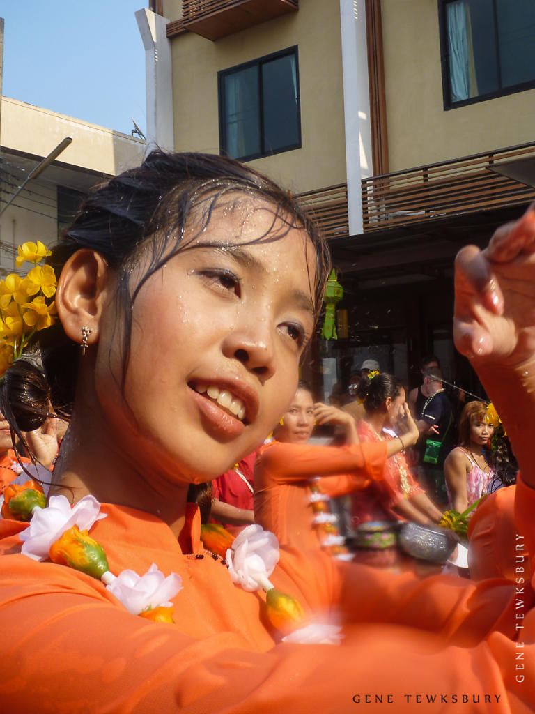A girl dances at Songkran Festival
